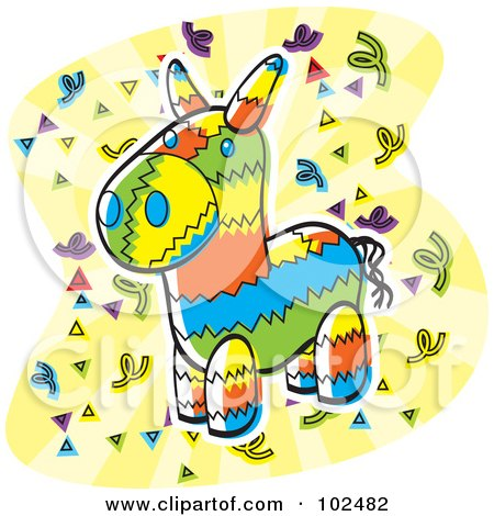 Royalty-Free (RF) Clipart Illustration of a Colorful Donkey Pinata And Confetti by Cory Thoman