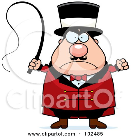 Royalty-Free (RF) Clipart Illustration of a Strict Chubby Circus Tamer Man by Cory Thoman