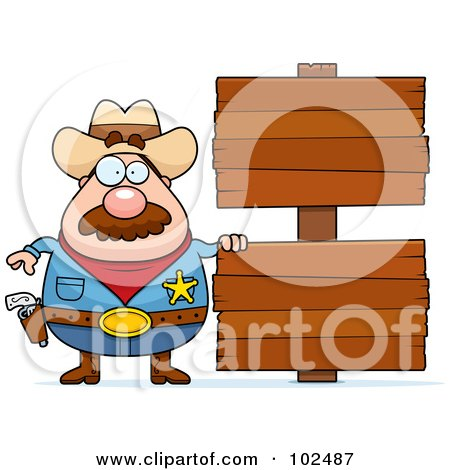 Royalty-Free (RF) Clipart Illustration of a Chubby Sheriff With Double Wood Signs by Cory Thoman