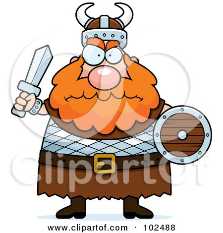 Chubby Mad Viking Man Holding A Sword And Shield Posters, Art Prints