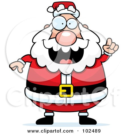Royalty-Free (RF) Clipart Illustration of a Chubby Santa Holding Up A Finger by Cory Thoman
