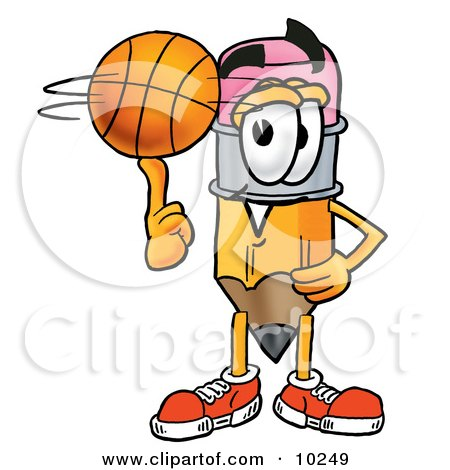 Clipart Picture of a Pencil Mascot Cartoon Character Spinning a Basketball on His Finger by Toons4Biz