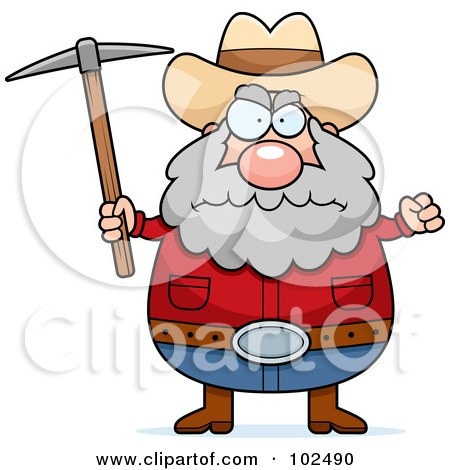 Royalty-Free (RF) Clipart Illustration of a Angry Prospector Holding A Pickaxe by Cory Thoman