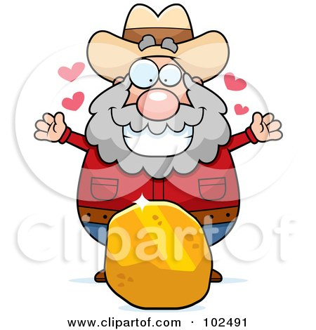 Royalty-Free (RF) Clipart Illustration of a Chubby Prospector With A Large Piece Of Gold by Cory Thoman