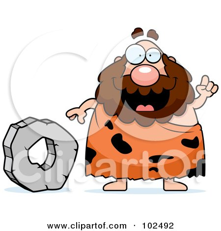 Chubby Caveman Standing By A Stone Wheel Posters, Art Prints