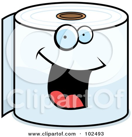 Royalty-Free (RF) Clipart Illustration of a Happy Smiling Toilet Paper Roll by Cory Thoman