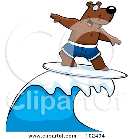 Royalty-Free (RF) Clipart Illustration of a Surfing Bear Riding A Wave by Cory Thoman