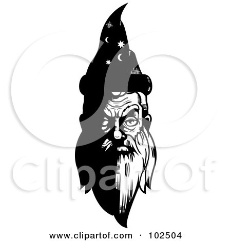 Royalty-Free (RF) Clipart Illustration of a Black And White Old Wizard's Face by Cory Thoman
