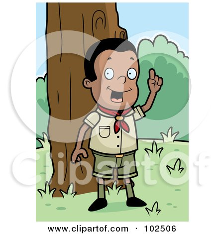 Royalty-Free (RF) Clipart Illustration of a Knowledgeable Black Cub Scout Boy In The Woods by Cory Thoman