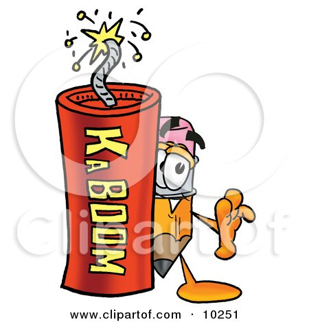 Clipart Picture of a Pencil Mascot Cartoon Character Standing With a Lit Stick of Dynamite by Toons4Biz