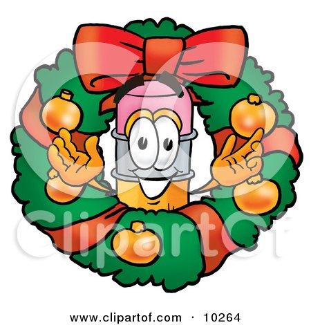 Clipart Picture of a Pencil Mascot Cartoon Character in the Center of a Christmas Wreath by Toons4Biz