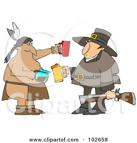 Royalty-Free (RF) Clipart Illustration of a Thanksgiving Pilgrim And Native American Drinking Coffee by djart