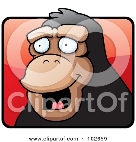 Royalty-Free (RF) Clipart Illustration of a Happy Monkey Face Over A Red Square by Cory Thoman