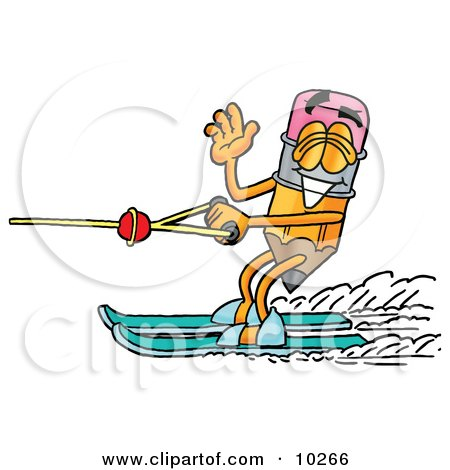 Clipart Picture of a Pencil Mascot Cartoon Character Waving While Water Skiing by Toons4Biz