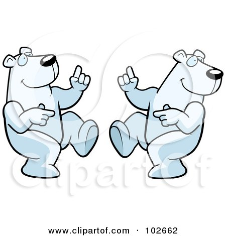 Royalty-Free (RF) Clipart Illustration of Two Dancing Polar Bears by Cory Thoman