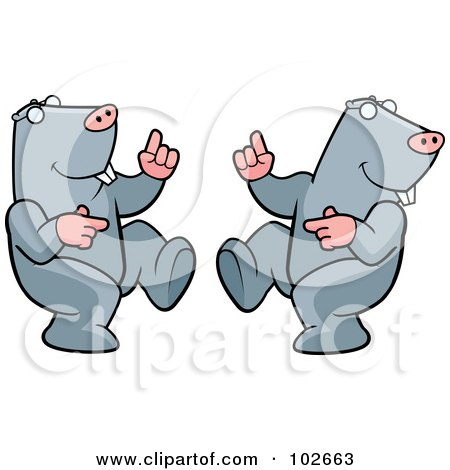 Royalty-Free (RF) Clipart Illustration of a Happy Dancing Mole Couple by Cory Thoman