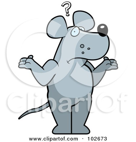 Royalty-Free (RF) Clipart Illustration of a Shrugging Confused Rat by Cory Thoman