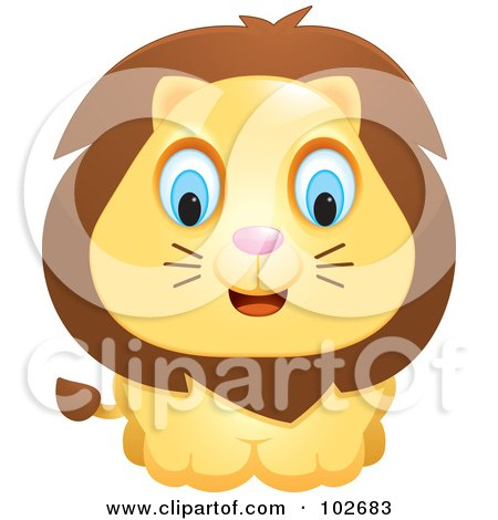 Royalty-Free (RF) Clipart Illustration of an Adorable Blue Eyed Lion by Cory Thoman