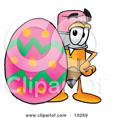 Clipart Picture of a Pencil Mascot Cartoon Character Standing Beside an Easter Egg by Toons4Biz