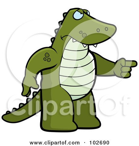 Royalty-Free (RF) Clipart Illustration of an Angry Alligator Pointing by Cory Thoman