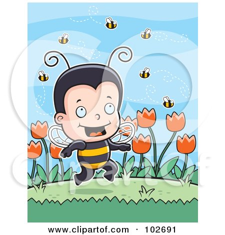 Royalty-Free (RF) Clipart Illustration of a Little Bee Boy With Bees And Tulips by Cory Thoman