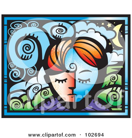 Royalty-Free (RF) Clipart Illustration of a Person's Face And A Dreamscape by Cory Thoman