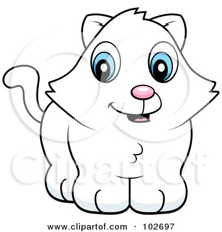 Royalty-Free (RF) Clipart Illustration of a Cute White Kitten by Cory Thoman