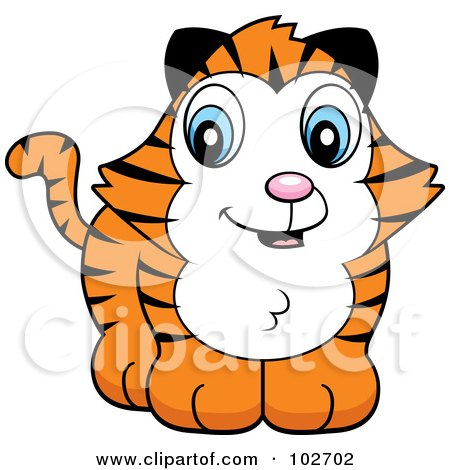 Royalty-Free (RF) Clipart Illustration of a Baby Tiger Smiling by Cory Thoman