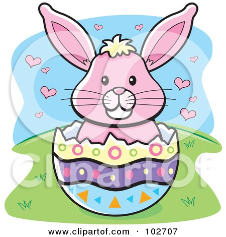 Royalty-Free (RF) Clipart Illustration of a Pink Easter Bunny With Hearts In An Egg Shell by Cory Thoman