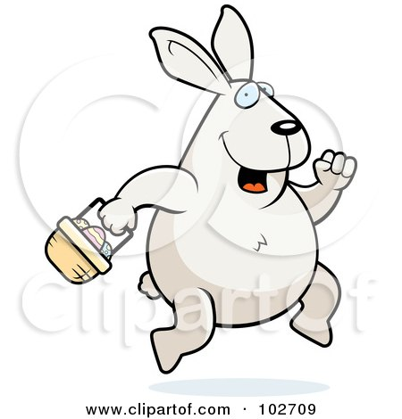 Royalty-Free (RF) Clipart Illustration of a Hopping White Easter Bunny With A Basket by Cory Thoman