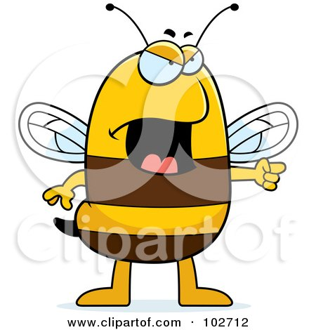 Royalty-Free (RF) Clipart Illustration of an Angry Bee Pointing by Cory Thoman