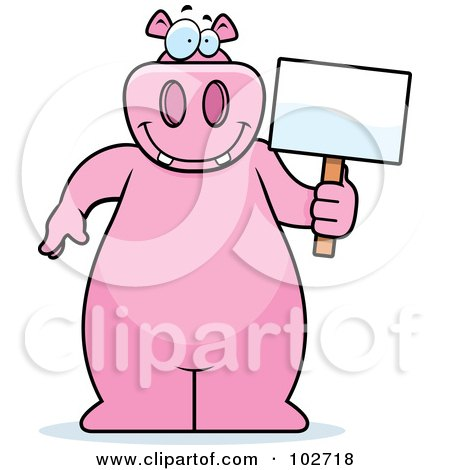 Royalty-Free (RF) Clipart Illustration of a Happy Pink Hippo Holding A Sign by Cory Thoman