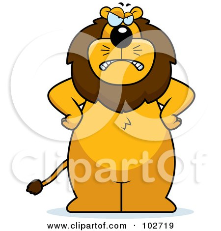 Royalty-Free (RF) Clipart Illustration of a Mad Lion Standing With His Hands On His Hips by Cory Thoman