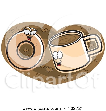 Royalty-Free (RF) Clipart Illustration of a Coffee Cup And Donut In Love On A Heart by Cory Thoman