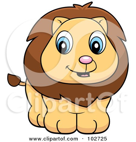 Royalty-Free (RF) Clipart Illustration of a Baby Lion Cub Smiling by Cory Thoman