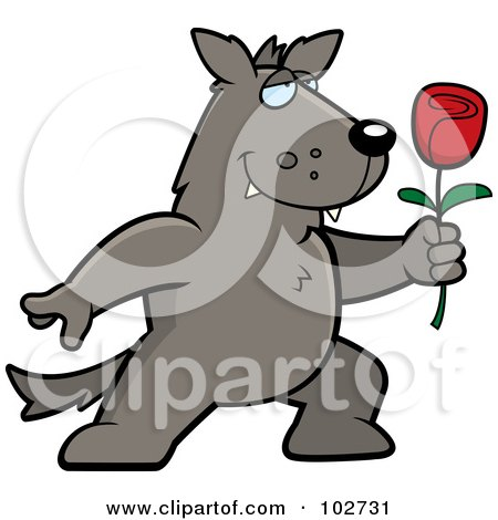 Royalty-Free (RF) Clipart Illustration of a Romantic Wolf Holding Out A Rose by Cory Thoman