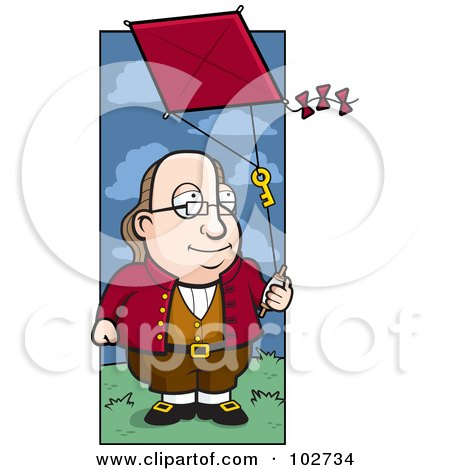 Royalty-Free (RF) Clipart Illustration of a Cartoon Benjamin Franklin Doing A Kite Experiment by Cory Thoman