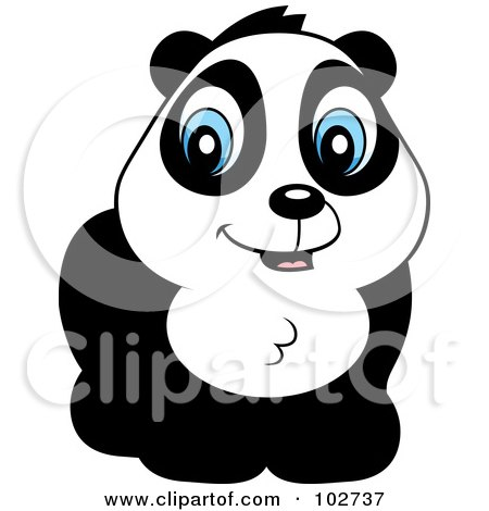 Royalty-Free (RF) Clipart Illustration of a Cute Blue Eyed Panda by Cory Thoman