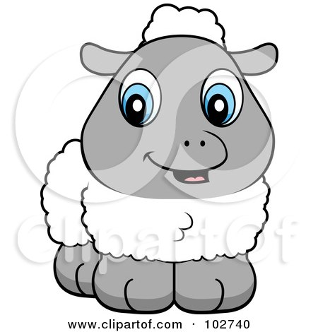 Royalty-Free (RF) Clipart Illustration of a Wooly Baby Lamb With Blue Eyes by Cory Thoman