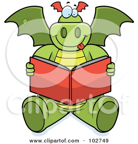 Royalty-Free (RF) Clipart Illustration of a Happy Reading Dragon by Cory Thoman