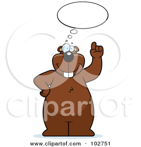 Royalty-Free (RF) Clipart Illustration of a Thinking Beaver Holding Up A Finger by Cory Thoman