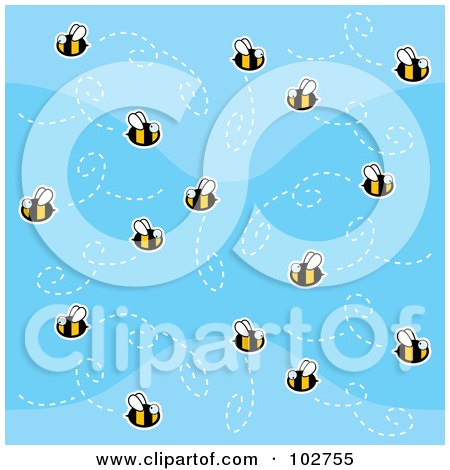 Royalty-Free (RF) Clipart Illustration of a Swarm Of Bees In A Blue Sky by Cory Thoman