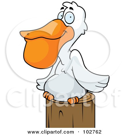 Royalty-Free (RF) Clipart Illustration of a White Pelican Resting On A Post by Cory Thoman