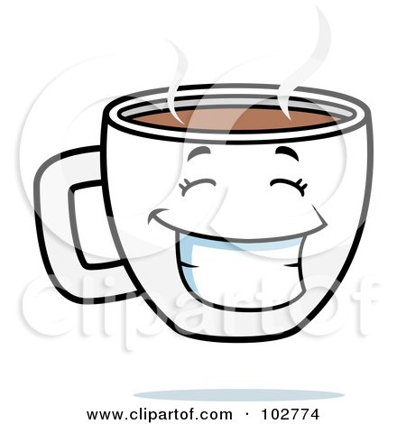 Royalty-Free (RF) Clipart Illustration of a Happy Grinning Coffee Cup by Cory Thoman
