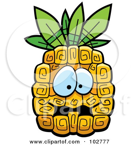 Royalty-Free (RF) Clipart Illustration of a Scared Pineapple by Cory Thoman