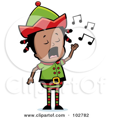 Royalty-Free (RF) Clipart Illustration of a Little Black Elf Girl Singing by Cory Thoman