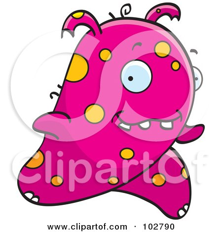 Royalty-Free (RF) Clipart Illustration of a Running Pink And Orange Alien by Cory Thoman