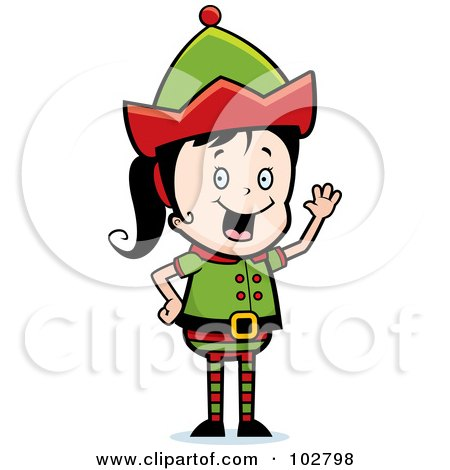 Royalty-Free (RF) Clipart Illustration of a Waving Elf Girl by Cory Thoman