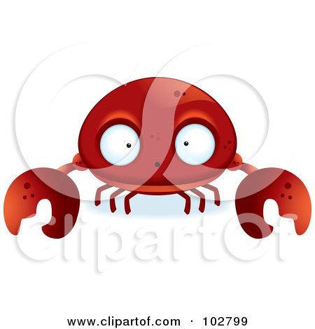 Royalty-Free (RF) Clipart Illustration of a Big Eyed Red Crab by Cory Thoman