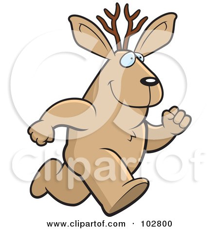 Royalty-Free (RF) Clipart Illustration of a Running Jackalope by Cory Thoman